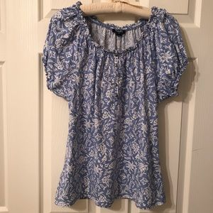 Chaps Blue&White Peasant Style Top Size Large
